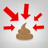 foto of poo  - Poo illustration with red arrows pointing at it vector - JPG