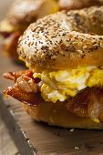 image of bagel  - Hearty Breakfast Sandwich on a Bagel with Egg Bacon and Cheese - JPG