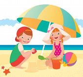picture of children beach  - Stock vector cartoon illustration Children playing on the beach - JPG