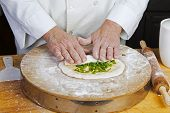 image of scallion  - Making scallion pancakes - JPG