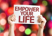 image of empower  - Empower your Life card with colorful background with defocused lights - JPG