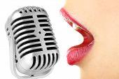 pic of karaoke  - Singing woman and retro microphone - JPG