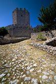 Medieval Castle With Deep Blue Sky poster