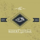 pic of all seeing eye  - all seeing eye vintage art and vector illustration - JPG