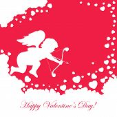 stock photo of cupid  - Red valentines background with cupid and hearts - JPG