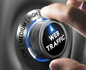 pic of blue  - Web traffic button pointing high position with two fingers blue and grey tones Conceptual image for internet seo - JPG