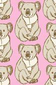 stock photo of koala  - Sketch cute koala in vintage style vector seamless pattern - JPG