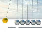 picture of newton  - Concept or conceptual 3D metal silver and gold creative sphere Newton cradle pendulum over a sky background - JPG