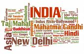 picture of gandhi  - India word cloud illustration - JPG