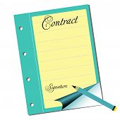 image of contract  - Isolated empty contract waiting to be filled in - JPG