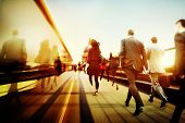 stock photo of commutator  - Business People Corporate Walking Commuting City Concept - JPG