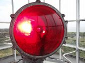 image of martha  - A closeup of the red light atop Gay Head Lighthouse on Martha - JPG