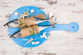 pic of shell-fishes  - Delicious fresh mackerel fish on wooden kitchen board with sea shells and sand on white textured wooden background - JPG