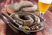 pic of sausage  - Blood sausage and rice sausage on wooden background - JPG