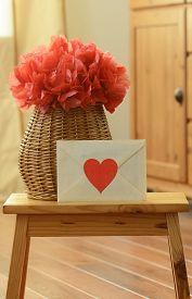 pic of pom poms  - Vase basket red pom pom tissue paper flower - JPG