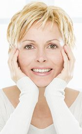 stock photo of birthmark  - Forty years lady with short hair - JPG