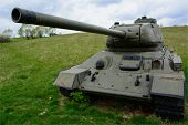 stock photo of ww2  - Russian famous tank t34 in Death Valley in Slovakia - JPG