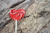 foto of valentine candy  - Candy valentines hearts on a background of wooden - JPG