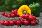picture of yellow-pepper  - Cherry tomatoes with green and yellow bell peppers - JPG
