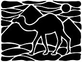 stock photo of dromedaries  - Graphic silhouette of a dromedary with pyramids on the background - JPG