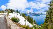 foto of klamath  - Panoramic View of Crater Lake and the Historic Crater Lake Lodge