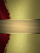 picture of nameplates  - Abstract red edge on a gold background with gold nameplate - JPG