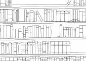 image of book-shelf  - Outline of large book shelf with blank books - JPG