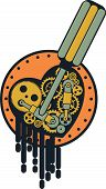 picture of steampunk  - Vector Steampunk mechanical heart pierced by a screwdriver on a white background - JPG
