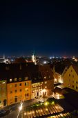 pic of bavaria  - Top view at night from beautiful Kaiserburg of red roofs in Nuremberg - JPG