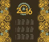 pic of steampunk  - poster with the image of a calendar for 2016 in the style of steampunk - JPG