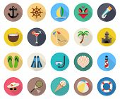 pic of long beach  - summer beach vacation icons with long shadow - JPG