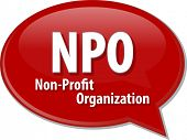 image of non-profit  - word speech bubble illustration of business acronym term NPO Non - JPG
