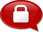 picture of lock  - Word speech bubble illustration of discussion forum blog locked secure lock vector - JPG