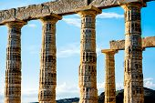 foto of poseidon  - Architectural fragments of Poseidon temple in Sounion - JPG