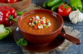 picture of vegetable soup  - Fresh vegetable soup Gazpacho on the table - JPG