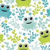 image of blue animal  - Seamless adorable kids frog woodland theme forest animals illustration background pattern in vector - JPG