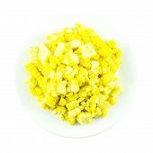 pic of sweet-corn  - Sweet yellow corn boiled and sliced ingredient on white background - JPG