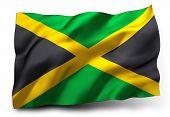 foto of rastafari  - Waving flag of Jamaica isolated on white background - JPG