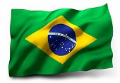 foto of waving  - Waving flag of Brazil isolated on white background - JPG