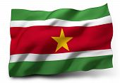 stock photo of suriname  - Waving flag of Suriname isolated on white background - JPG