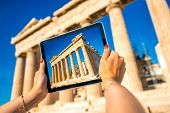pic of parthenon  - Photographing with digital tablet Parthenon temple in Acropolis - JPG