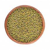 pic of mung beans  - Green mung beans in a wooden bowl on a white background - JPG