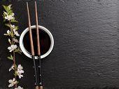 picture of sakura  - Japanese sushi chopsticks - JPG