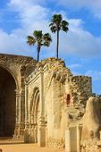 stock photo of collapse  - Collapsing cathedral caused from an earthquake taken at the San Juan Capistrano - JPG