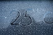 stock photo of cold-weather  - Frosty glass and sign on it the concept of cold weather - JPG