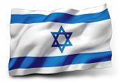 picture of israel israeli jew jewish  - Waving flag of Israel isolated on white background - JPG
