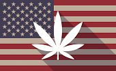 pic of marijuana leaf  - Illustration of an USA flag icon with a marijuana leaf - JPG