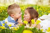 pic of orchard  - Girl lying with the boy in a blossoming orchard  - JPG