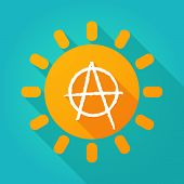 pic of anarchists  - Illustration of a sun icon with an anarchy sign - JPG