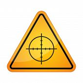 image of crosshair  - Illustration of a danger signal icon with a crosshair - JPG